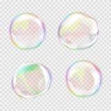 Sistema de burbujas de jabón transparentes multicoloras foto de archivo libre de regalías