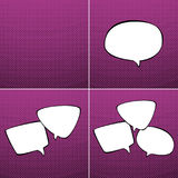 Sistema de burbujas del discurso en fondo rosado Imagenes de archivo