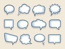 Sistema de burbujas del discurso o del pensamiento del vector Foto de archivo