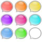 Sistema de burbujas que hablan coloridas Imágenes de archivo libres de regalías