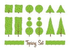 Sistema de BushesTopiary Diversa forma básica de los arbustos, árboles Imagen de archivo libre de regalías