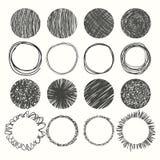 Sistema de círculos dibujados mano Elementos del diseño del vector Fotos de archivo