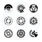 Sistema de círculos futuristas de la ciencia ficción stock de ilustración