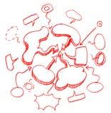 Sistema de círculos y de discurso dibujados mano de la burbuja. Imagenes de archivo