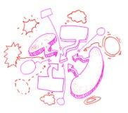 Sistema de círculos y de discurso dibujados mano de la burbuja. Imágenes de archivo libres de regalías