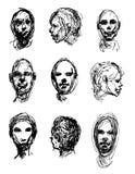 Sistema de cabezas de dibujo Foto de archivo libre de regalías