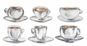 Sistema de café de la acuarela Foto de archivo