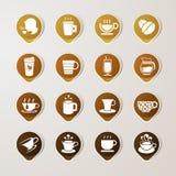 Sistema de café de la etiqueta de la etiqueta engomada Fotografía de archivo libre de regalías