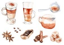 Sistema de café del dibujo de la acuarela stock de ilustración