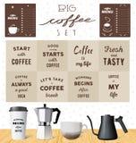 Sistema de café del vector: citas de la motivación sobre el café stock de ilustración