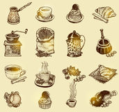 Sistema de café del vintage del vector ilustración del vector