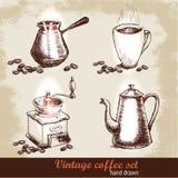 Sistema de café dibujado mano del vintage con los granos de café Estilo del bosquejo Imagen de archivo libre de regalías