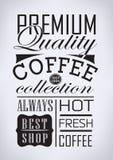 Sistema de café, elementos tipográficos del café Imagen de archivo libre de regalías