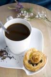 Sistema de café en la tabla de madera Fotografía de archivo