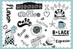 Sistema de café dibujado mano 01 Imagen de archivo libre de regalías
