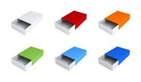 Sistema de cajas coloridas. Imágenes de archivo libres de regalías