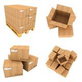 Sistema de cajas de cartón aisladas en blanco Imagenes de archivo