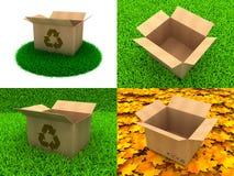 Sistema de cajas de cartón en el fondo de la hierba Fotos de archivo libres de regalías