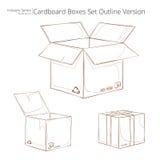 Sistema de cajas de cartón resumidas Foto de archivo libre de regalías