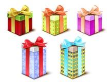 Sistema de cajas de regalo Fotografía de archivo