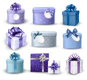 Sistema de cajas de regalo coloridas con los arcos y las cintas. Imágenes de archivo libres de regalías