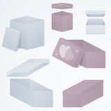 Sistema de cajas de regalo 3d que empaquetan en las perspectivas distintas y las formas, 3d, pendientes, ejemplo ilustración del vector