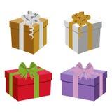 Sistema de cajas de regalo del vector Fotos de archivo