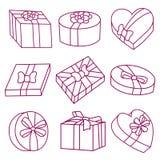 Sistema de cajas de regalo el día de San Valentín Foto de archivo