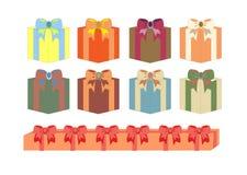 Sistema de cajas de regalo en diversos colores Fotografía de archivo libre de regalías