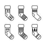 Sistema de calcetines de la Navidad stock de ilustración