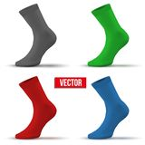 Sistema de calcetines realistas de la disposición de diversos colores Fotos de archivo libres de regalías