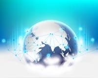 Sistema de calidad global de la red de información de datos de la nube de la conexión del mundo Ilustración del vector ilustración del vector