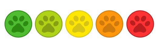 Sistema de calificación del producto - rojo de Paw Buttons From Green To de 5 animales - ejemplo del vector - aislado en blanco Imagen de archivo libre de regalías
