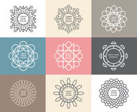 Sistema de caligráfico, concepto abstracto del vector de las plantillas de la flor Fotografía de archivo libre de regalías
