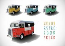 Sistema de camiones de la comida del color, aislado Imagen de archivo