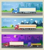 Sistema de camiones de las banderas del web Iconos planos del color Imagen de archivo libre de regalías
