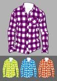 Sistema de camisas comprobadas manga larga Imagen de archivo