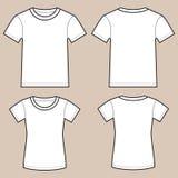 Sistema de camisas masculinas y femeninas en blanco stock de ilustración