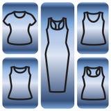 Sistema de camisetas y del icono del vestido Fotos de archivo libres de regalías