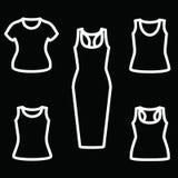 Sistema de camisetas y del vector del icono del vestido Imágenes de archivo libres de regalías