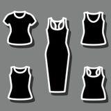 Sistema de camisetas y del vector del icono del vestido Fotografía de archivo libre de regalías