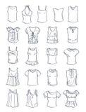 Sistema de camisetas y de top sin mangass stock de ilustración