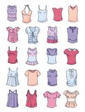 Sistema de camisetas y de top sin mangass del verano libre illustration