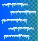 Sistema de carámbanos de la nieve, casquillo de la nieve ilustración del vector