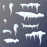Sistema de carámbanos de la nieve en fondo transparente Ilustración del vector Imagen de archivo