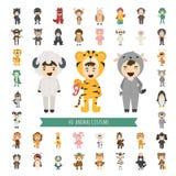 Sistema de 40 caracteres animales del traje ilustración del vector