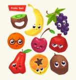 Sistema de caracteres de la fruta Historietas lindas del vector Fotos de archivo
