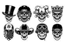 Sistema de caracteres del cráneo aislados en el fondo blanco ilustración del vector