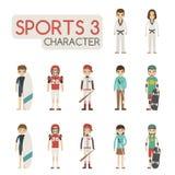 Sistema de caracteres del deporte de la historieta Imágenes de archivo libres de regalías
