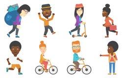 Sistema de caracteres del negocio y del deporte de turistas ilustración del vector